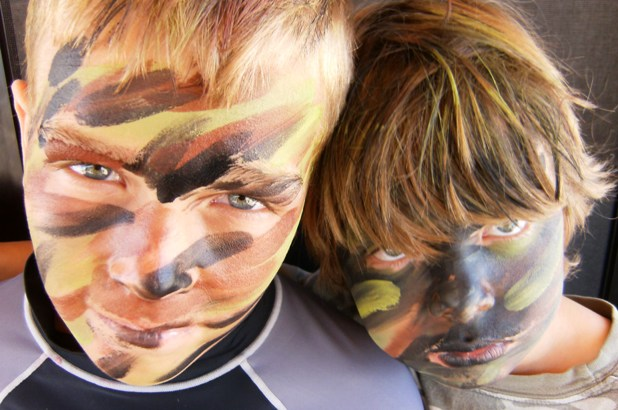 Face Painter Painting Boys in Claremont, La Verne, San Dimas, Upland, Glendora, Montclair, Pomona, Azusa, Rancho Cucamonga, Chino for Children's Parties