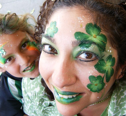 Saint Patrick's Day Face Painting and Glamour make-up in Claremont, La Verne, San Dimas and Upland for Meetings, Business Events, and Parties